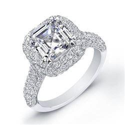 Natural 2.72 CTW All Around Halo Asscher Cut Diamond Engagement Ring 14KT White Gold