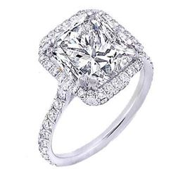 Natural 1.92 CTW Pave Halo Princess Cut Diamond Engagement Ring 18KT White Gold