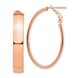 14k Rose Gold Omega Back Oval Hoop Earrings - 7x24 mm
