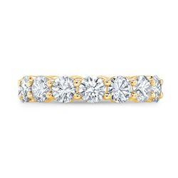 Natural 4.02 CTW Round Brilliant Diamond Eternity Band Wedding Ring 14KT Yellow Gold