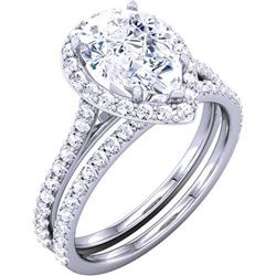 Natural 2.12 CTW Halo Pear Cut Diamond Ring 18KT White Gold