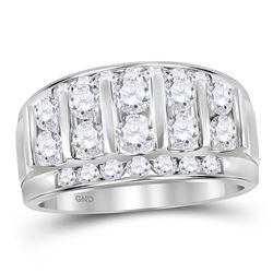 14kt White Gold Mens Round Diamond Wedding Channel Set Band Ring 2 Cttw