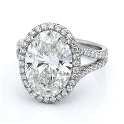 Natural 3.32 CTW Halo Oval Cut Split Shank Diamond Engagement Ring 18KT White Gold