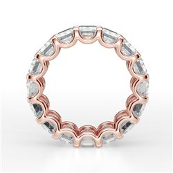 Natural 10.52 CTW U- Setting Emerald Cut Diamond Eternity Ring 14KT Rose Gold