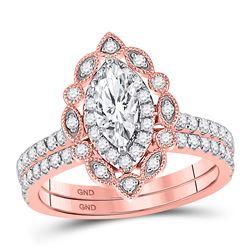 14kt Rose Gold Marquise Diamond Bridal Wedding Ring Band Set 1-1/4 Cttw