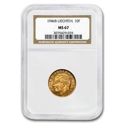 1946-B Liechtenstein Gold 10 Franken MS-67 NGC