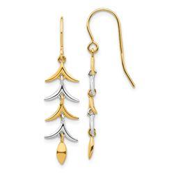 14k Two Tone Dangle Earrings