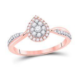14kt Rose Gold Womens Round Diamond Teardrop Cluster Ring 1/3 Cttw