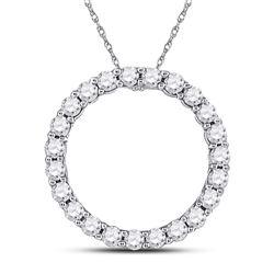 14kt White Gold Womens Round Diamond Circle Pendant 1/4 Cttw