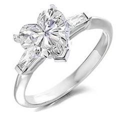 Natural 3.37 CTW Heart Shape & Baguette Cut 3-Stone Diamond Ring 14KT White Gold