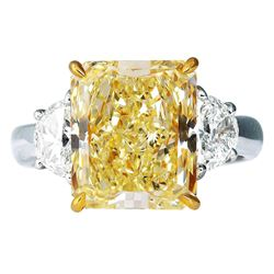 Natural 4.03 CTW Canary Intense Yellow Cushion Cut & Half Moons Diamond Ring 18KT White Gold