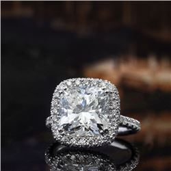 Natural 3.52 CTW Cushion Cut Diamond Halo Engagement Ring 18KT White Gold
