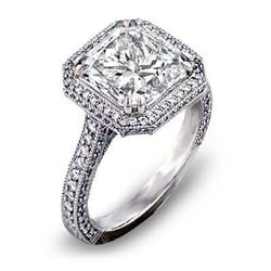 Natural 3.47 CTW Micro Pave Halo Princess Cut Diamond Engagement Ring 14KT White Gold