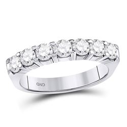 14kt White Gold Womens Round Diamond Single Row Comfort Wedding Band 1 Cttw