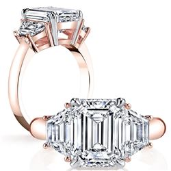 Natural 2.32 CTW Emerald Cut & Trapezoid 3-Stone Diamond Ring 18KT Rose Gold
