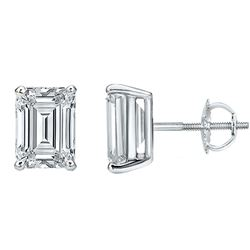 Natural 3.02 CTW Emerald Cut Diamond Stud Earrings 18KT White Gold