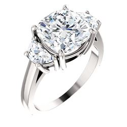 Natural 5.02 CTW 3-stone Cushion Cut & Half Moons Diamond Ring 18KT White Gold