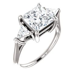 Natural 3.32 CTW 3-Stone Princess Cut & Trillions Diamond Ring 18KT White Gold