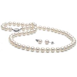 White Akoya Pearl 2-Piece Necklace and Earring Set, 6.5-7.0mm