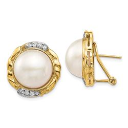 14k Yellow Gold White Pearl .16 ct Diamond Earrings - 13-14 mm