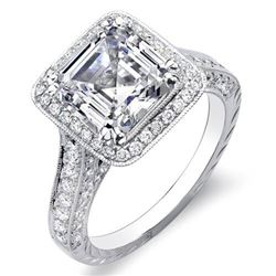 Natural 3.62 CTW Hand Carved Halo Asscher Cut Diamond Engagement Ring 18KT White Gold
