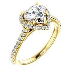 Natural 1.72 CTW Halo Heart Brilliant Cut Forever Diamond Engagement Ring 14KT Yellow Gold