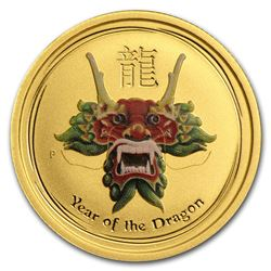 2012 Australia 1/4 oz Gold Lunar Dragon BU (SII, Green Colorized)