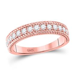 14kt Rose Gold Womens Round Diamond Rope Band Ring 1/2 Cttw