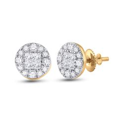 14kt Yellow Gold Womens Princess Round Diamond Cluster Earrings 1/2 Cttw