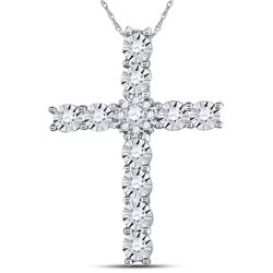 14kt White Gold Womens Round Diamond Cross Pendant 3/8 Cttw
