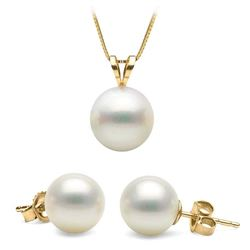 White South Sea Pearl Classic Pendant and Classic Stud Earring Set