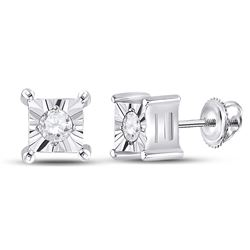 14kt White Gold Womens Round Diamond Solitaire Earrings 1/20 Cttw