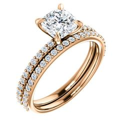 Natural 2.82 CTW Cushion Cut Diamond Engagement Set 14KT Rose Gold