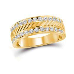 14kt Yellow Gold Mens Round Diamond Machine-Set Wedding Band Ring 1 Cttw