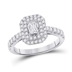 14kt White Gold Emerald Diamond Halo Bridal Wedding Engagement Ring 1 Cttw