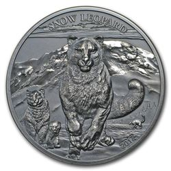 2017 Mongolia 1 oz Silver High Relief Animals (Snow Leopard)