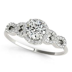 Natural 1.08 ctw Diamond Solitaire Ring 14k White Gold