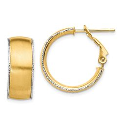 14k Satin w/White Gold Wire Accent Hoop Earrings - 7.5x20 mm