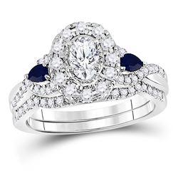 14kt White Gold Oval Diamond Bridal Wedding Ring Band Set 7/8 Cttw