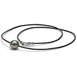 "18"" Black Tahitian Round Pearl on Leather"