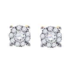 14kt White Gold Womens Round Diamond Cluster Earrings 1/2 Cttw