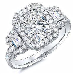 Natural 3.12 CTW Halo Cushion Cut & Trapezoids Eternity Diamond Ring 14KT White Gold