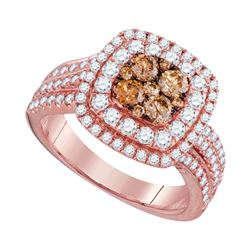14kt Rose Gold Womens Round Brown Diamond Square Cluster Ring 1-1/2 Cttw