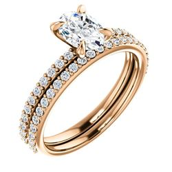 Natural 2.92 CTW Oval Cut Diamond Engagement Ring 14KT Rose Gold
