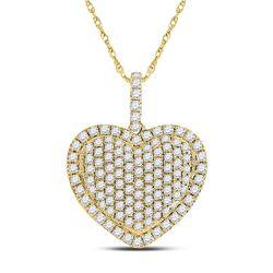 14kt Yellow Gold Womens Round Diamond Heart Pendant 1-1/4 Cttw