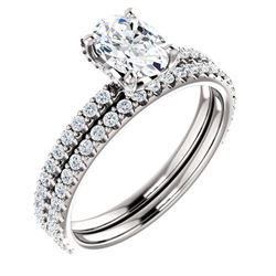 Natural 2.62 CTW Oval Cut Hidden Halo Diamond Ring 18KT White Gold