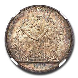 1876 Switzerland Silver 5 Francs Shooting Thaler MS-66 NGC