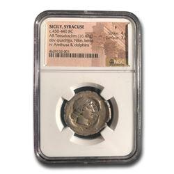 Sicily Syracuse Silver Tetradrachm (450-440 BC) Fine NGC