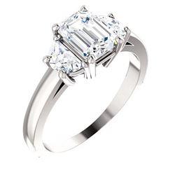 Natural 2.62 CTW Emerald Cut & Half Moons 3-Stone Diamond Ring 14KT White Gold
