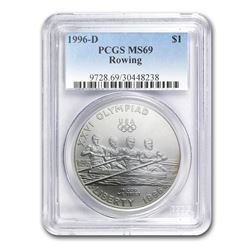 1996-D Olympic Rowing $1 Silver Commem MS-69 PCGS